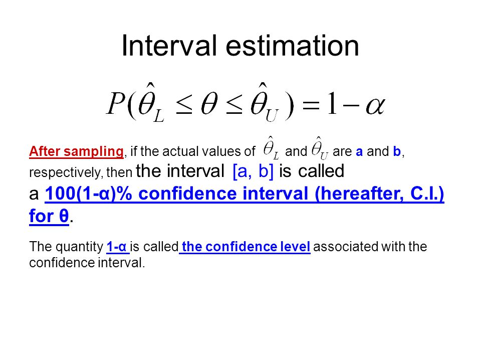 Interval estimation After sampling, if the actual values of and are a and b, respectively, then the interval [a, b] is called.